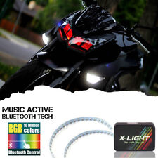 Motorcycle Bluetooth Control RGB LED Demon Eye Halo Ring For Headlight Retrofit