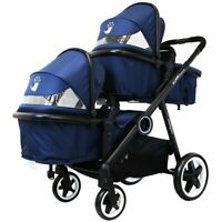 Blue Baby Unisex Pram System & In Line Toddler Tandem Lightweight + Second Seat