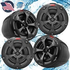 Pyle PLUTV44CH 1500W Waterproof Marine Speakers + 4 Ch. Rated Amplifier