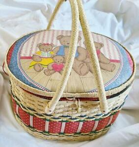 Large Vtg Handled Sewing Picnic Basket -Hinged Lid -Fabric Lined - Teddy Bears