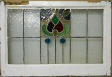 """MID SIZED OLD ENGLISH LEADED STAINED GLASS WINDOW Amazing Floral 27.75"""" x 19"""""""