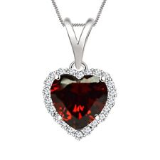 """1.25 CT HEART GARNET 14K WHITE GOLD FN HALO PENDANT 18"""" CHAIN SPECIAL DAY GIFT"""