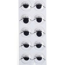 Movable Sticky Back Eyes with Lashes White 18mm - 20 pieces B226