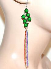 ORECCHINI donna ragazza argento fili pendenti pietre strass verde bijoux F289