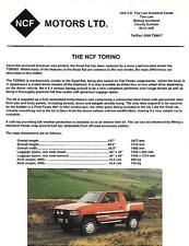 "NCF Motors Ltd.. NCF TORINO FIAT PANDA basato KIT AUTO ""SALES BROCHURE"" / foglio 1995"