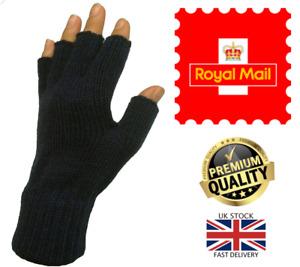New Men's Women's Black Thermal Unisex Half Finger Stretch Fingerless Gloves