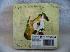 Set 4 Dorset Square Coasters Fruit Design Apple Pear Blackberry Plum Cork Back