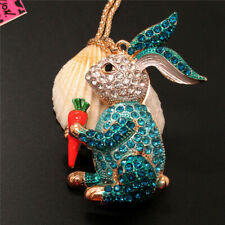 Carrot Crystal Necklace Sweater Chain New Betsey Johnson Blue Crystal Rabbit