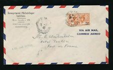 MARTINIQUE 1945 SURCHARGE 5F PHILATELIC AIRMAIL ENVELOPE FDC...L1