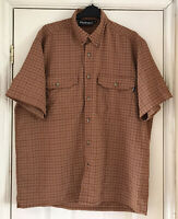 ROHAN Rust Brown Adventure Check  Shirt Seersucker Short Sleeve Size M SPF30+