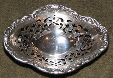 Beautiful Antique Birks Sterling Silver Footed Nut Candy Bowl Dish Pierced