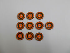 10 x Orange Buttons with Black Band Detail Baby Buttons 2 Hole Buttons 15mm