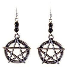 Boucles d'oreilles Pentagramme et perles en Onyx