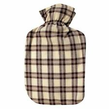Fashy Hot Water Bottle with Tan-Brown Cotton Plaid Plushie Cover 2L Water Bottle