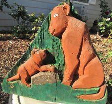 New ListingAntique American Folk Art Carving Sculpture Pumas Cabin Rustic Ranch Decore