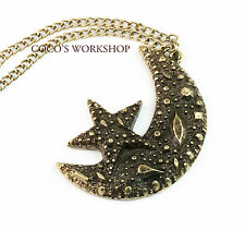 QUALITY VINTAGE BRONZE MOON STAR CRESCENT PENDANT LONG CHAIN NECKLACE JEWELLERY