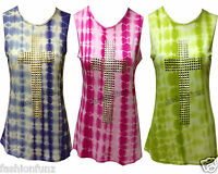 NEW WOMENS LADIES MULTI COLOUR GOLD STUDDED CROSS TIE DYE PRINT VEST TOP 8/14