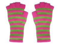 Fingerless Hot Pink Lime Green Striped Arm Warmer Gloves Gothic 80s Goth Punk