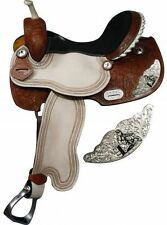 "16"" Leather Barrel Racing Show Saddle Trail w/ Engraved Silver Racer Emblem"