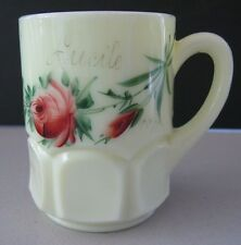 EAPG Krys-tol Custard Glass Thumbprint Floral Decorated Tumbler / Mug 1911