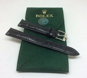 14mm Black Leather Rolex Band with 12mm Steel Rolex Buckle & HQ Pouch