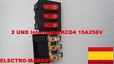 2X InterruptorKCD4 15A250V Rojo Con lámpara KCD3-302N 9Pin 33*40 MM