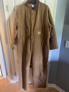 CARHARTT BRN DUCK CANVAS QUILTED LINED WORK COVERALLS MEN'S SIZE 54 Regular