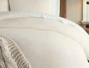 POTTERY BARN KING Egyptian Cotton TRES GRAND LIT CREAM IVORY SOLID LUX