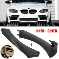 For BMW E90 3-Series Right Black Inner + Outer Door Panel Handle Pull Trim Cover
