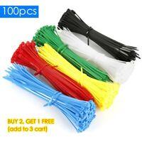 100pcs Black Releasable Reusable Zip Tie Cable Loop Ties Wraps Wires