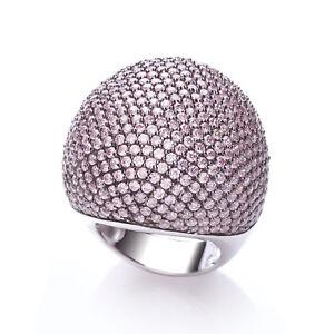 J JAZ Valentina Rhodium Plated Silver 925 Pink Cubic Zirconia Cocktail Ring