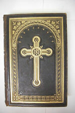 1884 BACKER / MEYER Family HOLY BIBLE - Family History from 1848*Ornate Leather