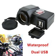 12V Waterproof Motorcycle GPS Cigarette Lighter Dual USB Power Socket Charger