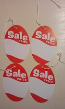 """OVAL """"SALE PRICE""""  TAGS - 2 1/4x3 1/2  ov1001wh white and red 10PK"""