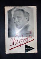 Musica libri - O. Respighi - Dati biografici ordinati da E. Respighi - AUTOGRAFO