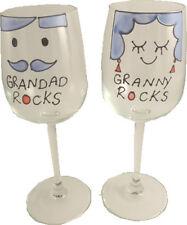 Granddad/Granny Rocks Wine Glasses: