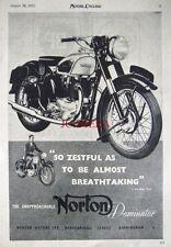 1952 NORTON 'Dominator' Motor Cycle AD #6 - Vintage Original Print ADVERT
