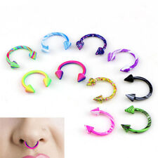 10PCS Stainless Steel Horseshoe Bar Lip Nose Septum Ear Ring Stud Piercing V6W