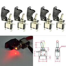 5X 12V Red LED Carbon Fiber Rocker Toggle Switch SPST Missile ON/OFF Racing Car