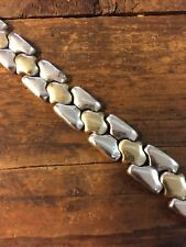 Taxco Mexico Signed Sterling Silver and Brass Unique Flat Link  Bracelet