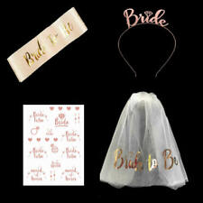 4PCS Rose Gold Bride to Be Sash Tattoos Crown Veil Hen Do Night Party