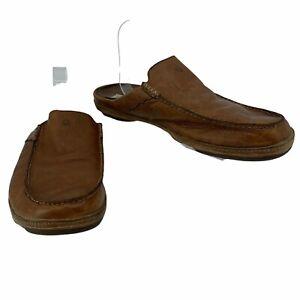 Olukai Kono Leather Slides Men's Size 12 Brown Slip On Casual Loafer Shoes