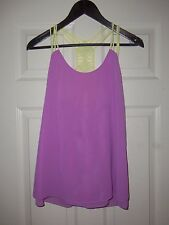 Women's I Shop Lilac & Yellow Strap Sheer Tank Top Size Large NWT