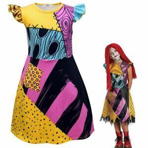 The Nightmare Before Christmas Sally Kids Girls Costume Cosplay Halloween Dress
