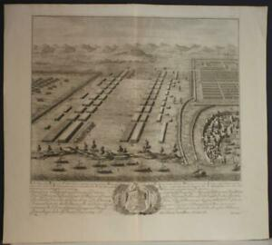 BATTLE OF THAPSUS TUNISIA 1710 DANIEL STOPENDAAL ANTIQUE COOPER ENGRAVED MAP