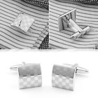 Classic Silver Plated Square Wedding Party Gift Mens Cufflinks Laser Cuff Links