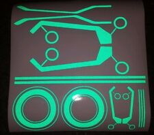 TRON STYLE HELMET REFLECTIVE GREEN STICKERS HIVIZ DECAL NIGHT MOTORBIKE NINJA H2