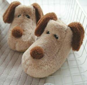 Dog Slippers Moccasins German Shepherd Puppy Plush Toy Novelty Soft Animal Fur