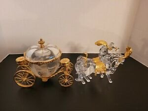 Franklin Mint Cinderella Carriage & Horses Rare Retired Crystal 24 Carat Gold