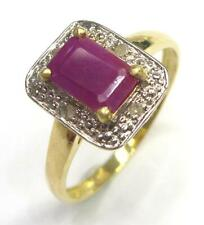 SYJEWELLERY NICE 9CT SOLID YELLOW GOLD NATURAL RUBY & DIAMOND RING SIZE N R968
